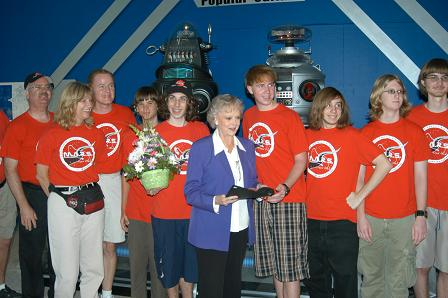 June Lockhart with a Robotics Team at the South Florida Science Museum