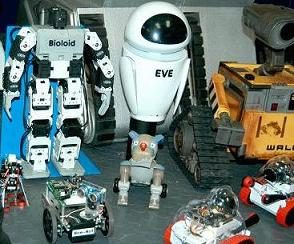 His our Bioloid posing with some of our other robots