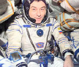 Cosmonaut wearing a SOKOL KV-2 Space Suit