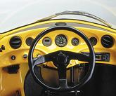 The dashboard of a yellow Sparrow