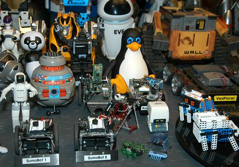 "Our ""Tux Droid"" on display with a few of our other robots."